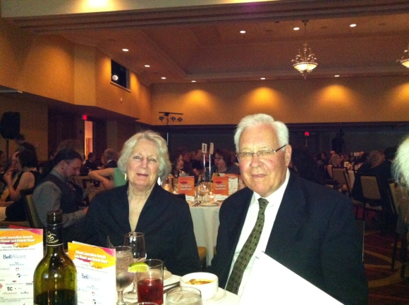 Penny Bruce and her husband of 59 years, hanging loose at the Atlantic Journalism Awards